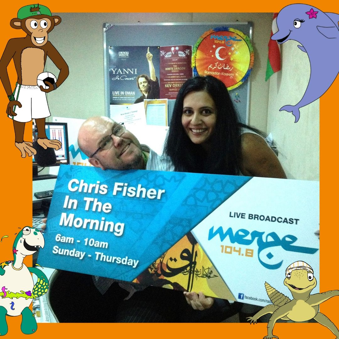 This picture was taken in 2013. This was Saniya's first interview for her book Majlis Jinn, with the ever colourful and fun Chris Fisher!